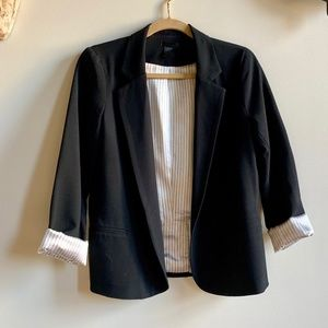 Aqua Black Blazer with Rolled Sleeves